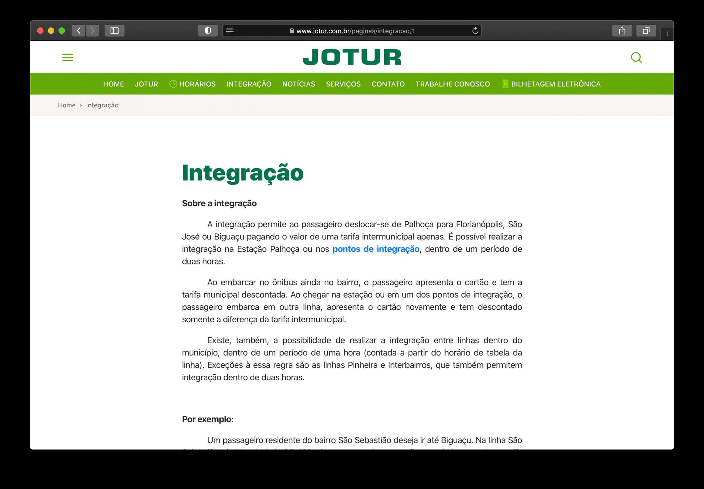 Página Integração